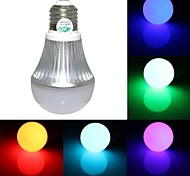 RGB Light LED Bulb With Remote Controller - White Silver (AC90~260V)150lm 3W E27