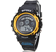 Unisex Multi-Functional LCD Digital Yellow Case Black Band Sporty Wrist Watch
