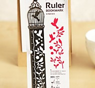 Multi-Function Metal Hollow-out Drawing Ruler Bookmark(Birdcage)