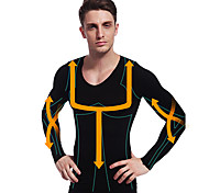 hombre que adelgazan la camisa de ropa interior térmica de manga larga faja firme vientre barriga busto de nylon negro ny102