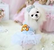 Dog Dress Blue / Pink Spring/Fall Cartoon