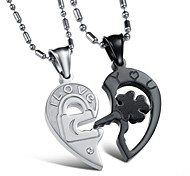 Heart to Heart Black and White Puzzles Lovers Titanium Steel Fine Necklace
