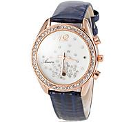 orologio semplice stile diamante quadrante bianco fascia di cuoio del quarzo del polso delle donne (colori assortiti)