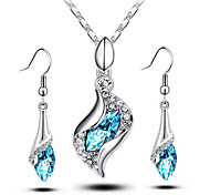 Crystal Necklace Earrings Suit Special Beautiful Angel Eyes (1SET)