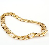 Vogue 20CM Men's 24K Yellow Gold Filled Bracelet Figaro Curb Link Chain 8MM Width Jewelry