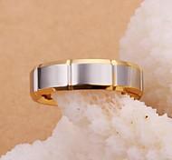 anillo de acero cuadrado plateado oro de lureme®men