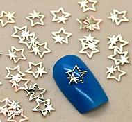 200шт золотой дубль звездочный дизайн-металл ломтик ногтей украшения