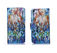 Colorful Flower Oil Painting Style PU Leather Full Body Case with Stand and Card Slot for iPhone 6