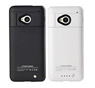Зап-m7 2600mAh высокой емкости резервного аккумулятора чехол с подставкой черное белым для HTC One m7