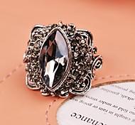 Luxury Crystal Europe America Vintage Gray Joker Adjustable Ring Jewelry