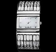 Women's Luxury Fashion Square Dial Diamond Decor Silver Steel Band Quartz Wrist Watch