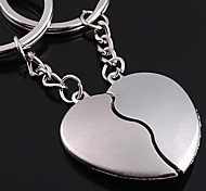 The Broken Heart Shape Metal Silver Keychain Toys(a Pair)