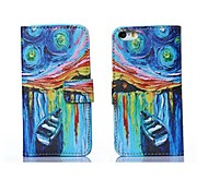 Star Ship Oil Painting Style PU Leather Full Body Case with Stand and Card Slot for iPhone 6