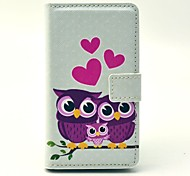 Heart Owl Family Pattern PU Leather Cover Full Body Case with Card Slot for Nokia Lumia N520