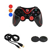 Wireless Bluetooth Doubleshock Gamepad Game Controller + USB Charger Cable + Button Protector For PS3