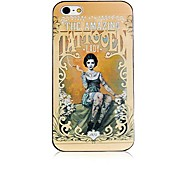 Retro Lady Pattern Black Frame Back Case for iPhone 4/4S