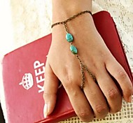 Women's  Fashion Personality Natural Turquoise Connect Fingers Chain  Bracelets