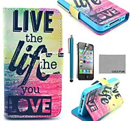 COCO FUN® Love Life PU Leather Full Body Case with Screen Protector, Stand and Stylus for iPhone 4/4S