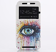 Big Eyes Pattern Clamshell PU Leather Full Body Case for HTC One (M8)
