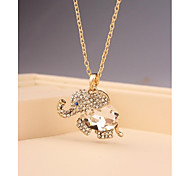 Fashion Long Elephant Crystal Imitation Diamond Gold Plated Korea Necklace for Women In Jewelry