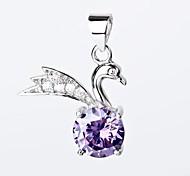 I FREE®S925 Sterling Silver Swan Shape Inlaid Zircon Pendant (1 pc)