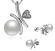 BRI.R® Fashion  AAA S925 Silver Natural Pearl Pendant Necklace Earrings Set - Encounter