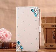 diamant gem blauwe libel pu leer full body case met standaard en de kaartgleuf voor Samsung Galaxy Note 2 n7100