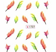 Water Transfer Print Nail Art Stickers Decals Yellow Feather Pattern For False Acrylic Nail Tips Design Nail Art