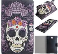 lila Rosen Schädel-Muster PU-Leder Ganzkörper-Fall mit Karte für Samsung Galaxy Tab 8.4 s t700