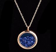aleación redonda de cristal magnética azul rhinestone colgante medallón de estar flotando