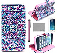 COCO FUN® Purple Tribal Carpet Pattern PU Leather Full Body Case with Film, Stand and Stylus for iPhone 5/5S