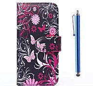 Butterfly Pattern PU Leather Cover and Capacitance Pen with Stand for iPhone 6