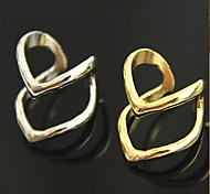 European Double V  Alloy Band Rings(Gold,Silver)(1 Pc)