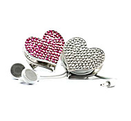 Crystal Heart Brooch Earphone Cable Wire Cord Organizer Cable Winder