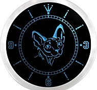 Sphynx Canadian Hairless Cat Shop Neon Sign LED Wall Clock