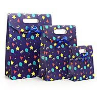 comodo 3pcs las estrellas azules feliz infancia encolado de dibujos animados bolsa de moda bolsa de regalo de papel del partido juego