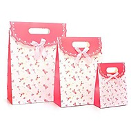 Coway 3Pcs Pink Bottom Bear Gluing Bag Fresh Fashion Party Paper Gift Bag Set