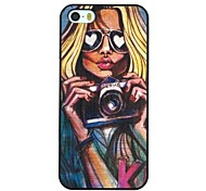 The Sexy Girl with Glasses Holding A Camera Pattern PC Hard Back Cover Case for iPhone 5/5S