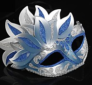 Blue and Silver PS Leaves Half Face Venetian Mask