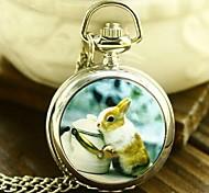Women's Fashion Small Squirrel Enamel Quartz Movement Necklace Watch