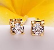 Fashion Square Golden Stoving Varnish Stud Earrings(Golden)(1Pair)