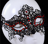 Handmade Half Face Black Lace with Red Diamond Halloween Party Mask