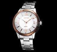 Men's Business Style Rose Gold Case Silver Steel Band Quartz Wrist Watch (Assorted Colors)