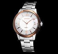 Herren-Business-Stil Rotgold Silber Stahl Band Quarz-Armbanduhr (farbig sortiert)