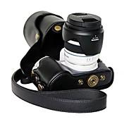 dengpin® Leder Kamera Tasche Schutzhülle mit Schultergurt für Samsung NX300 18-55 mm Objektiv oder Festbrennweite
