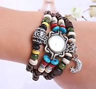 Women's Personality Star&Moon Pendant Bead Bracelet Watch