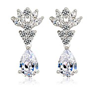 Fairy Flower with 3 carat Pear shaped CZ Stones Drop Earrings For Women