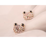 Fashion Korea Frog Imitation Diamond Rose Gold Plated Stud Earrings for Women in Jewelry