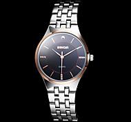 Men's Noble Rose Gold Case Silver Steel Band Quartz Wrist Watch (Assorted Colors)