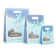 Coway 3Pcs Blue Castle Gluing Bags of Fresh Fashion Party Paper Gift Bag Set